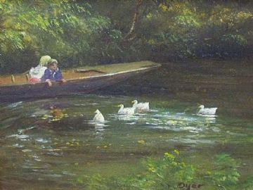 Ted Dyer Original Oil Painting Children Watching The Ducks